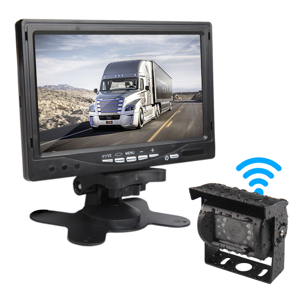 Wireless Truck Vehicle Backup Camera & 7 inch HD Monitor Night Vision Parking Assistance Waterproof Rear View Camera