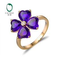 Lovely Style Heart Cut 3.0ct Amethyst 14kt Gold 0.015ct Natural Diamonds Ring Free shipping Caimao Jewelry