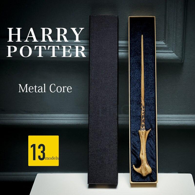 Cosplay Harri Potter varita nueva versión con núcleo de hierro de Dumbledore varita nueva calidad Deluxe varita mágica regalos cinta