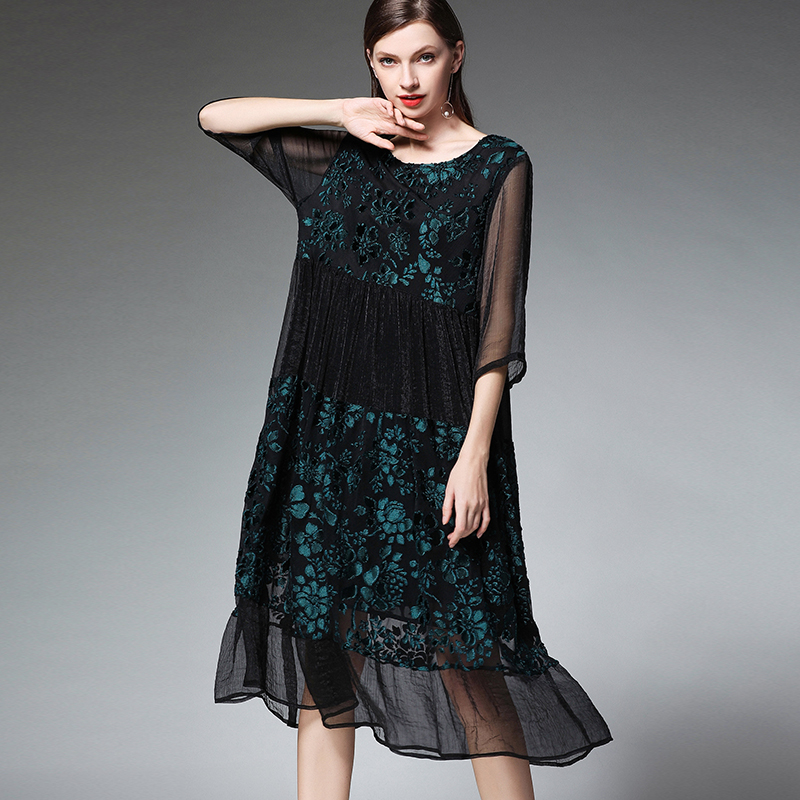 Grande taille femmes mode joint en mousseline de soie robes de grande taille décontracté lâche taille haute O cou mi manches robe élégante printemps - 4