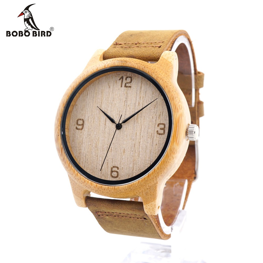 BOBO BIRD L09 Womens Casual Antique Round Bamboo Wooden Watch With Leather Strap Lady Watches Top