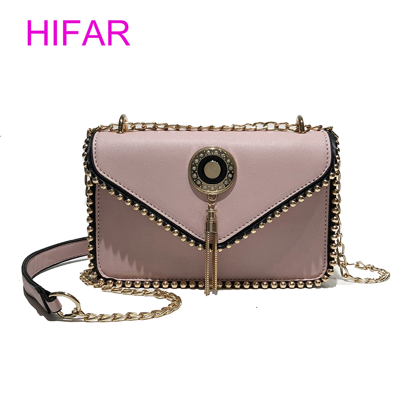 HIFAR 2018 Tassel Rivet Chains Flap Women Crossbody Bag Fashion Ladies Purse And Handbags PU Leather Messenger Bag Pink Black