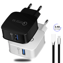Quick Charge 3.0 USB Charger for iPhone Xiaomi Huawei 9v 12v EU US Fast USB Charger Adapter US Plug Fast Charging USB Cables quick charge 3 0 usb charger travel for iphone samsung micro usb type c fast charging 3 ports eu us plug mobile phone charge