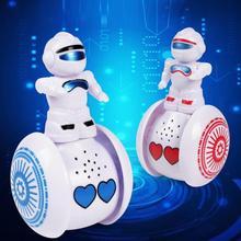 Cute Interactive Tumbler Robot Toy Lighting Music Induction Walking Electronic R
