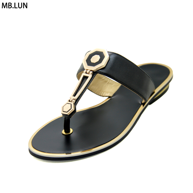 Women Shoes Flip Flops Summer 2017 New PU Leather High Quality  Sandals Shoes Woman Gladiator Flat Slippers Plus Size 11 MB.LUN