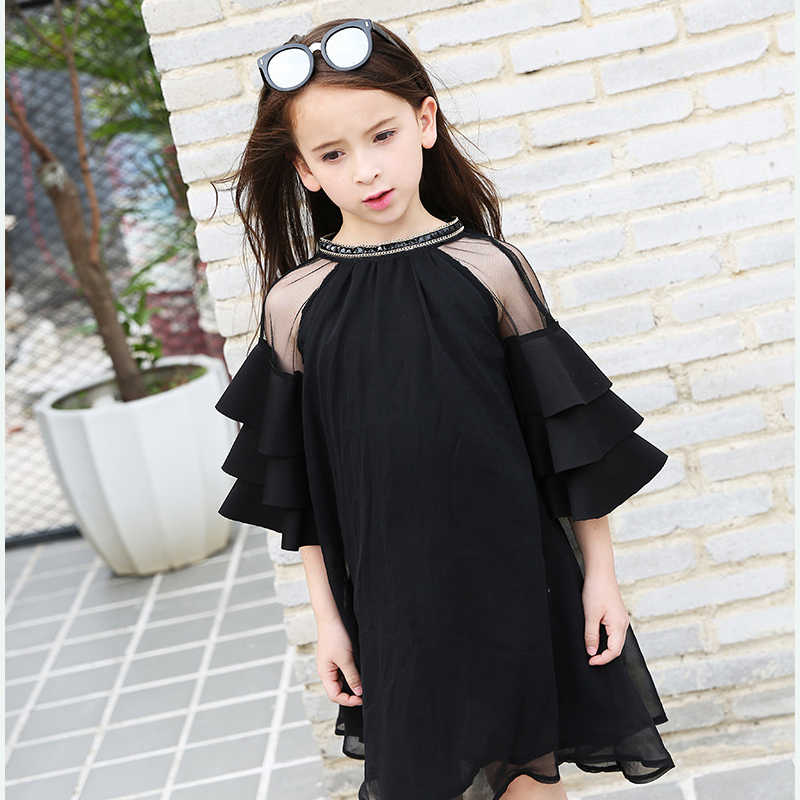 e7285342c1 ... Sexy Chiffon Ruffle Dress For Teen Girls Off Shoulder Tulle Princess  Dress Little Black Ballroom Dresses ...