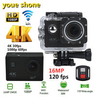 Youe Shone Action Camera 4K 30PFS 16MP WIFI Ultra HD Underwater Diving 1080P Camera Waterproof 170D