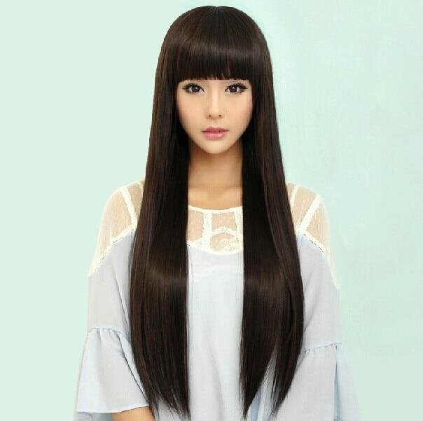 Ong Hair Wig Bangs Straight Blunt Curtain Imitating Realistic