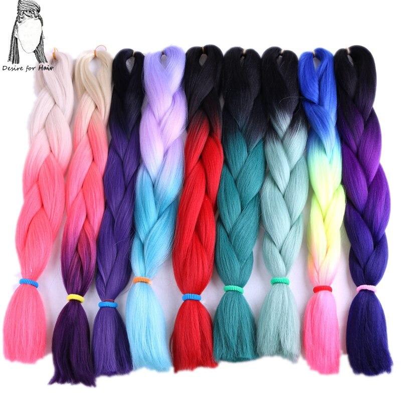 önskan om hår 14packs 24inch 100g jumbo ombre flätande hår - Syntetiskt hår