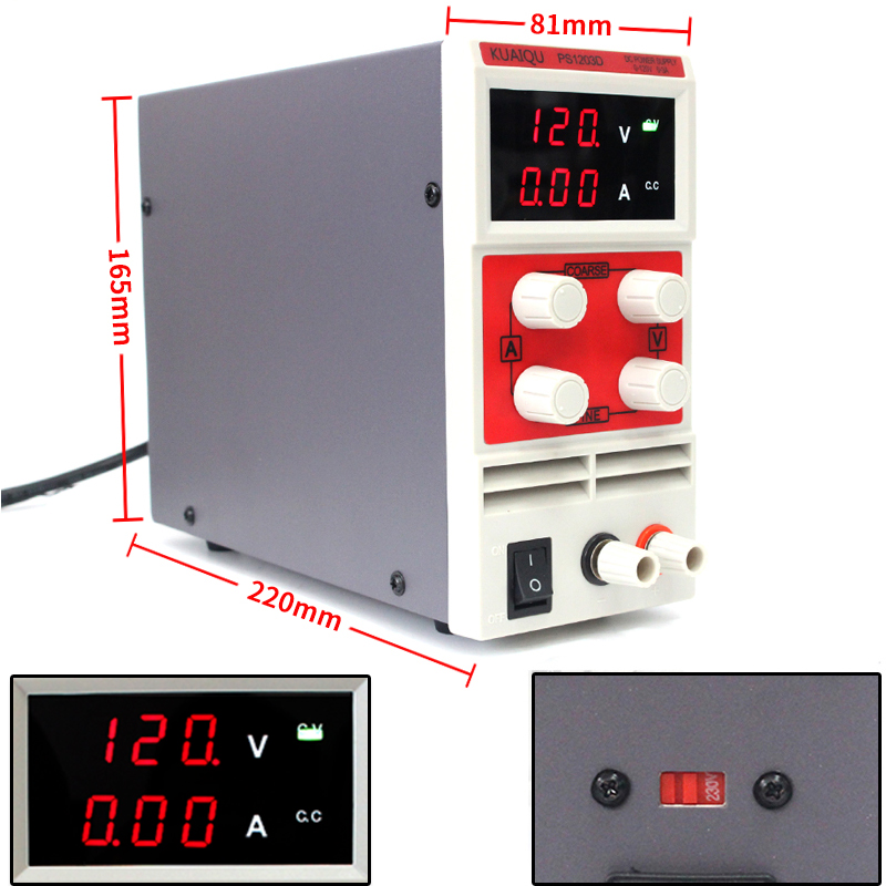 KUAIQU mini Adjustable DC Power Supply,laboratory Power Supply Digital Variable power supply 120V3A PS1203D rps3020d 2 digital dc power adjustable power 30v 20a power supply linear power notebook maintenance