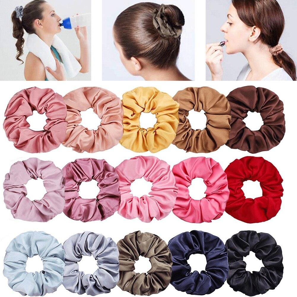 New Satin Hair Scrunchies Stretch Scrunchie Women Elastic Hair Bands Girls Headwear Solid Ponytail Holder Silky Haar Accessoires