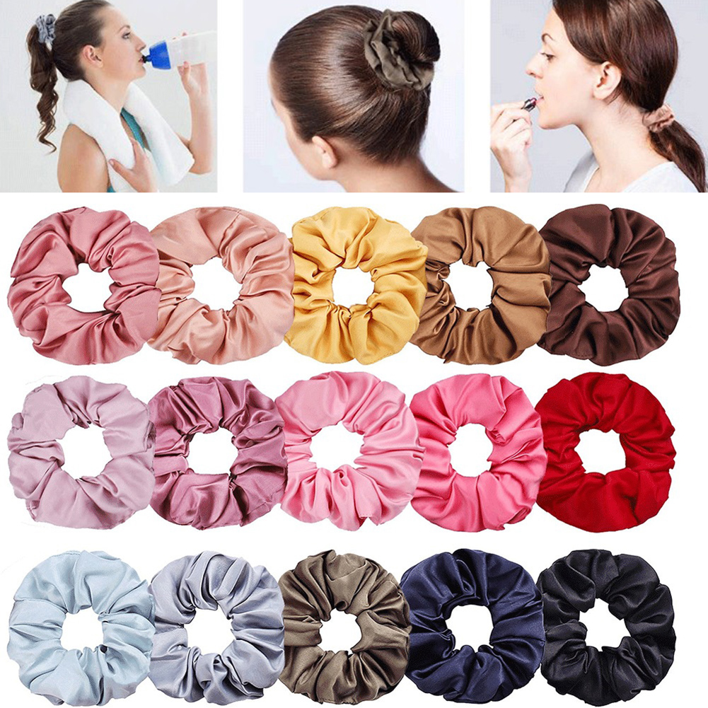 New Satin Hair Scrunchies Stretch Scrunchie Women Elastic Hair Bands Girls   Headwear   Solid Ponytail Holder Silky Haar Accessoires