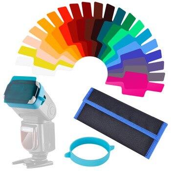 Neewer universal câmera flash géis correção de cor transparente equilíbrio kit filtro iluminação com faixa de fixação