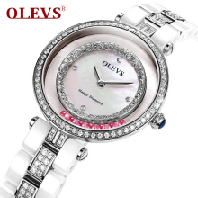 Fashion Brand Women Rolling Drill Dress Watches Luxury Quicksand Casual Clock Genuine Leather Rhinestone Lady Wrist