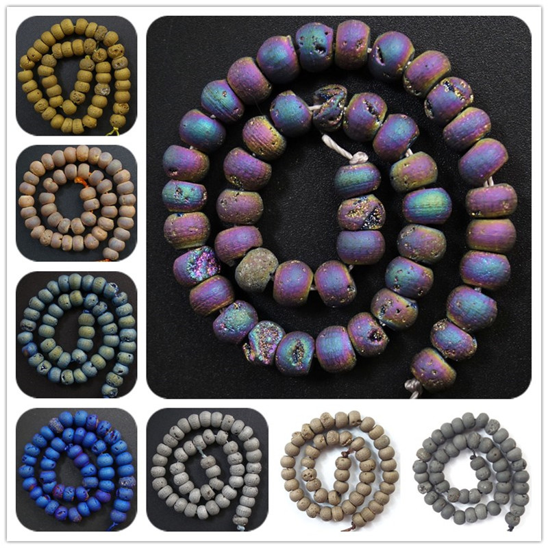 2017 New!! Wholesale 1 Strand Titanium Coated Druzy Geode Stone Loose Bead 6mm/8mm/10mm Choose You Like (Min.order 10$ mix)