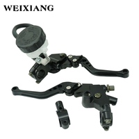 Black 7 8 22mm Universal Adjustable Motorcycle Brake Clutch Master Cylinder Lever Reservoir