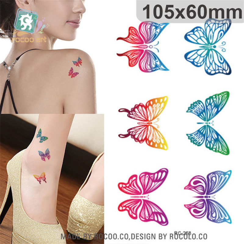 цена на harajuku waterproof temporary tattoos for women Beautiful colors butterfly design flash tattoo sticker Free Shipping RC2268