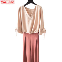 YAGENZ Plus size Clothes Summer Set Women Clothes 2 Pieces Set Five points sleeve V collar Pullovers Tops and Wide leg pants 457