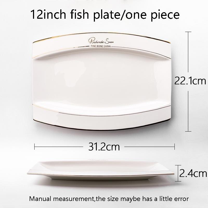 Assiette à poisson céramique créative | Porcelaine jante dorée longue assiette à poisson, plats de nourriture occidentale vaisselle pour la maison, jardin pâtisserie Dessert grandes soucoupes 12 pouces - 2