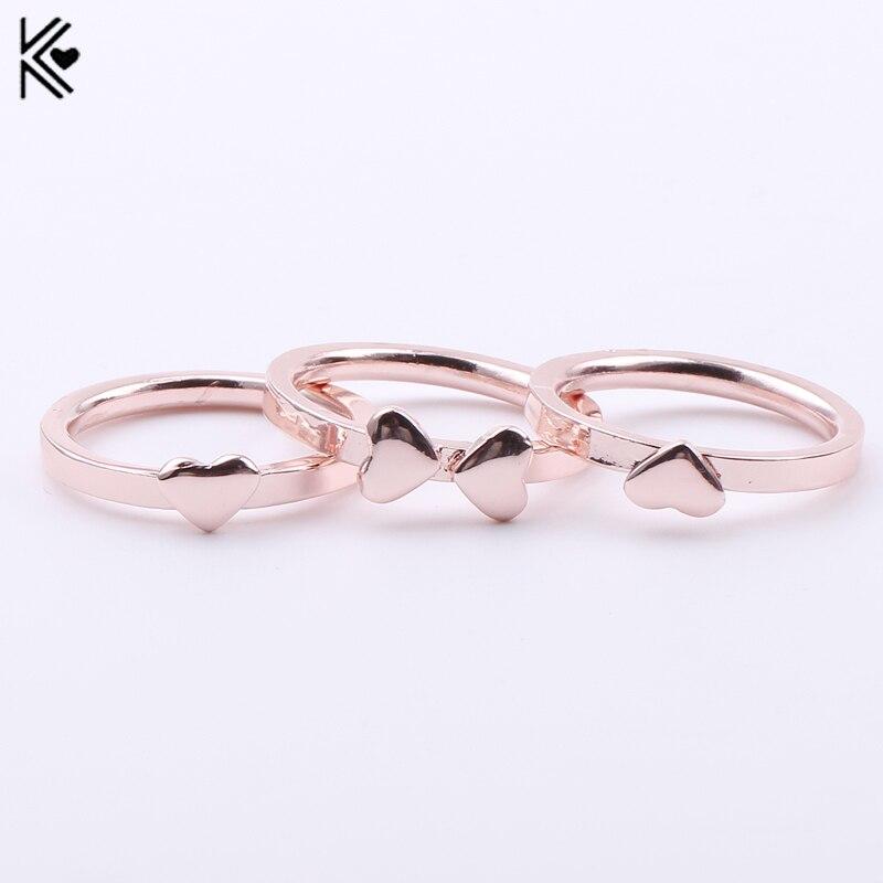Новое поступление 2017 года 3 шт./пакет Сердце комплект колец Для женщин Кольца милые романтическая розового золота кольцо набор обещание Обр...