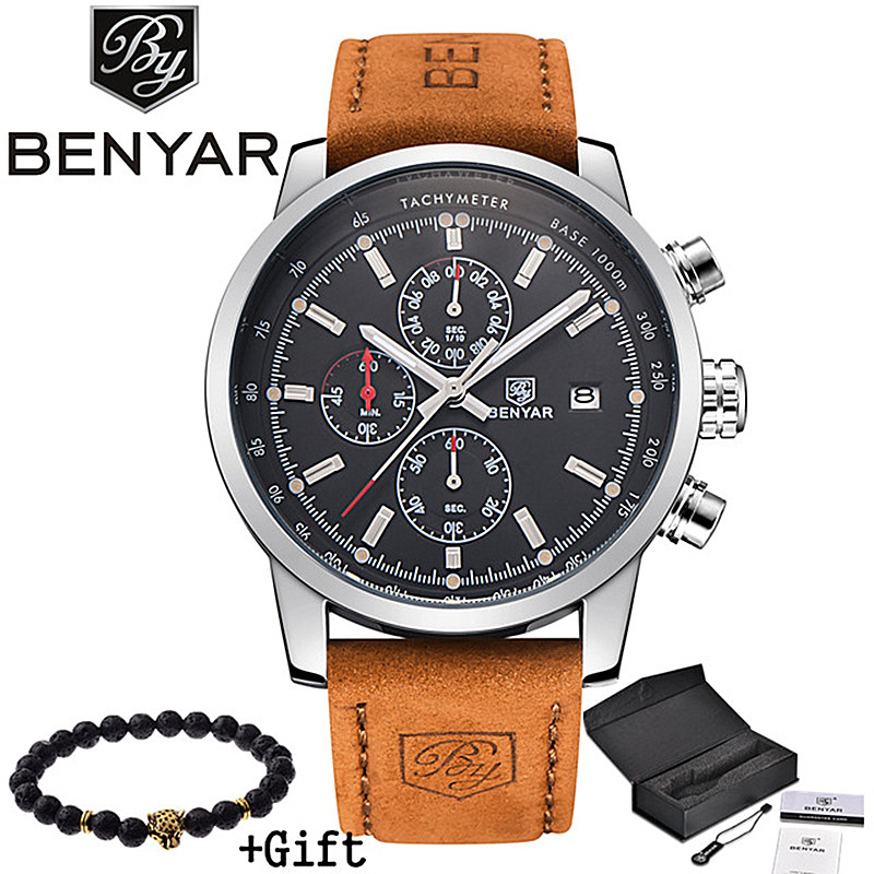 2017 benyar watches men luxury brand quartz watch fashion chronograph sport reloj hombre clock for Celebrity watches male 2017