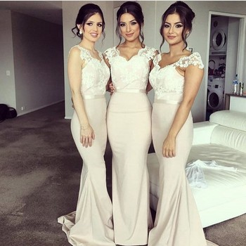 Cap Sleeves Lace Bridesmaid Gown Peach/Ivory/Champagne/Silver/Coral/Red Satin Lace Bridesmaid Dresses With Sash Fast Shipping