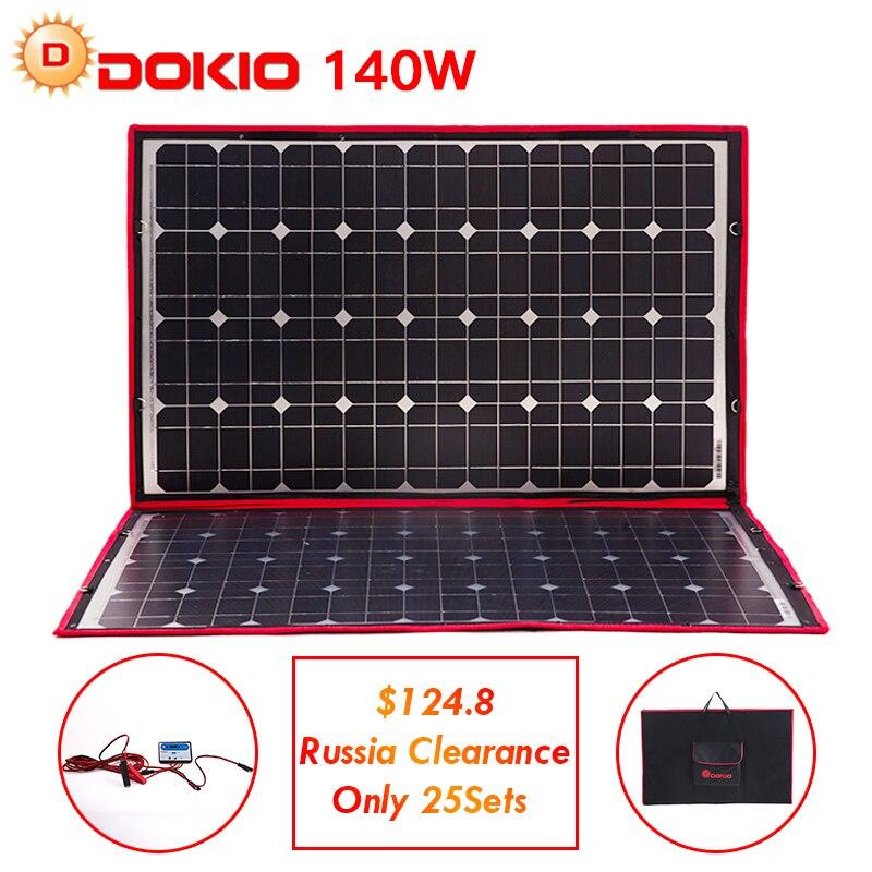 Dokio 100 W 140 W 18 V 12 V Flexível Dobrável Painéis Solares Controlador de 140 Watt Painéis Solares Carro/ camping Enviamos somente a partir de Rússia