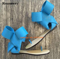 Summer Hot Selling Women Big Bow Tie Design Flat Gladiator Sandals Candy Colors Clip Toe Flat