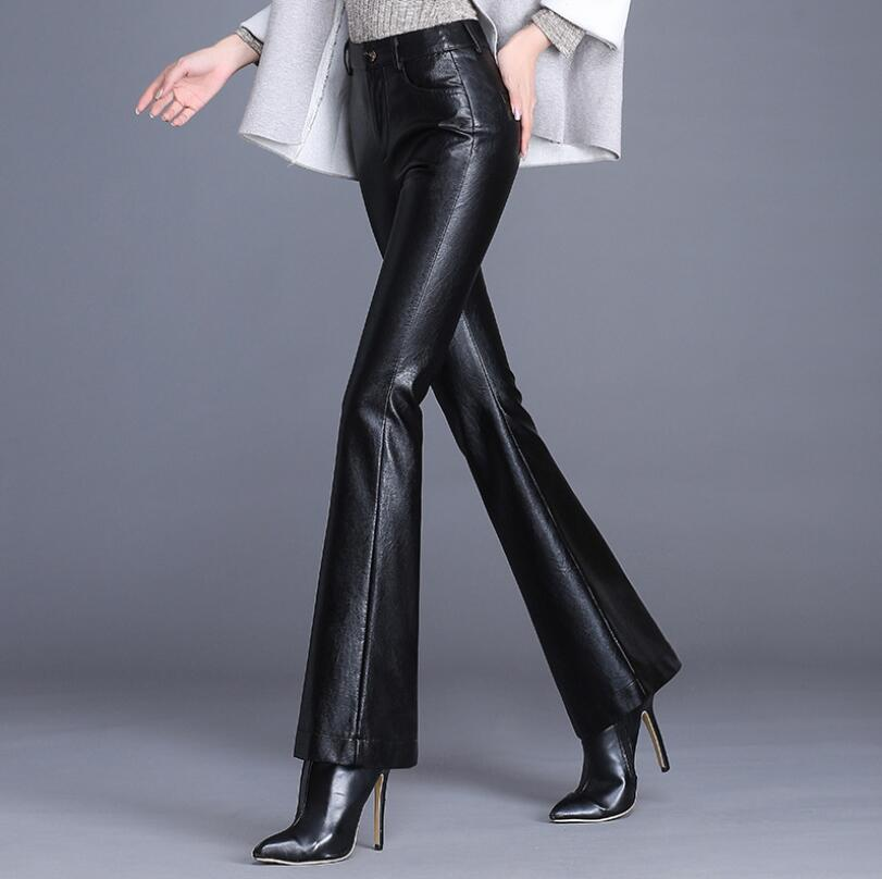 Autumn Women's Leather Pants Women Female High Waist Pants Faux Leather Trousers Women Fashion slim PU Flare Pants w230