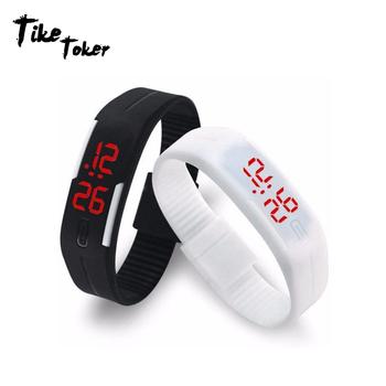 TIke Toker cyfrowy zegarek LED zegarek mężczyźni Relogio męski Relogio feminino kobiety zegarki Sport mężczyźni zegarek zegar Montre Homme tanie i dobre opinie Digital Wristwatches Hidden Clasp Gumowe Temperature Measurement None No waterproof 10mm Prostokąt Akrylowe Smart 8707321