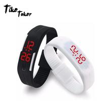 TIke Toker cyfrowy zegarek LED zegarek mężczyźni Relogio męski Relogio feminino kobiety zegarki Sport mężczyźni zegarek zegar Montre Homme tanie tanio Digital Wristwatches Hidden Clasp Gumowe Temperature Measurement None No waterproof 10mm Prostokąt Akrylowe Smart 8707321