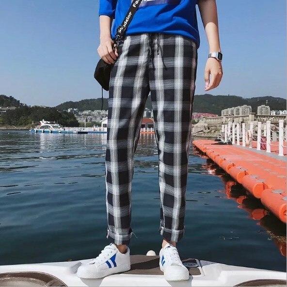 Teenage Boy Casual Plaid Ankle Length Pants Men Trousers Hip Hop Jogger Pants Men Sweatpants Japanese Streetwear Men Pants