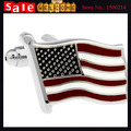 America Nation Flag Silver Plated Enamel Cuff Links for Man Wholesale,US Style Metal Striped Statement Cute Paint Oil Cufflink
