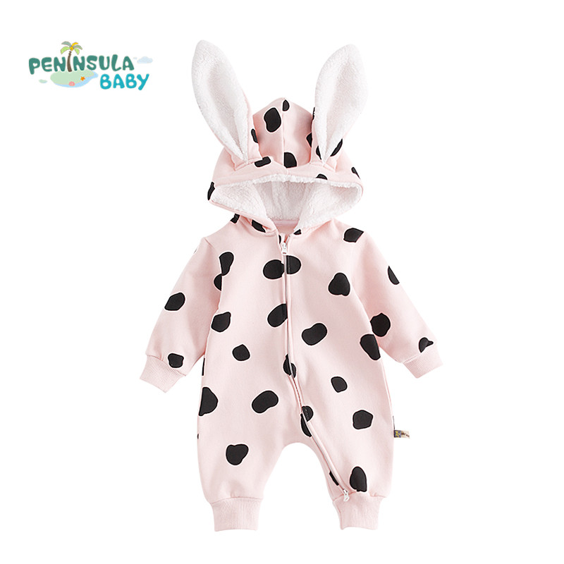 Cartoon Rabbit Hooded Baby Romper Winter Thick Warm Dot Pattern Jumpsuit Zipper Boys Girls Clothes Children Costume Outerwear puseky 2017 infant romper baby boys girls jumpsuit newborn bebe clothing hooded toddler baby clothes cute panda romper costumes