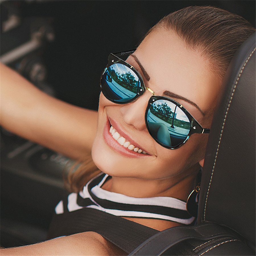 2019 Retro Round Sunglasses Women Driving Mirror vintage Women Reflective flat lens Sun Glasses Female oculos De Sol Feminino
