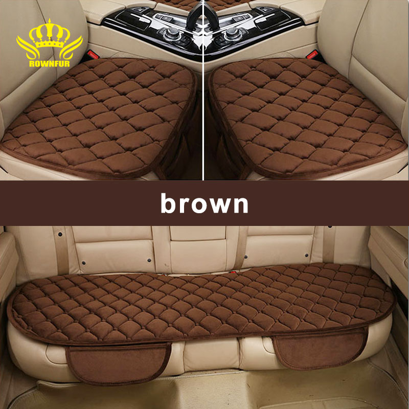 ROWNFUR Car Seat Cover Universal Four Seasons Warm Flocking Cloth Seat Covers Front Back Seat Covers Car Interior Accessories