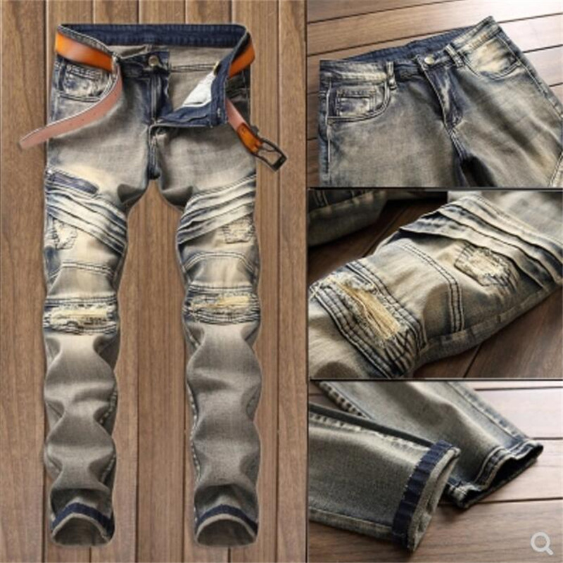 New Casual retro denim trousers high quality Fashion street Fake Zippers jeans male straight casual mens ripped gray jeans