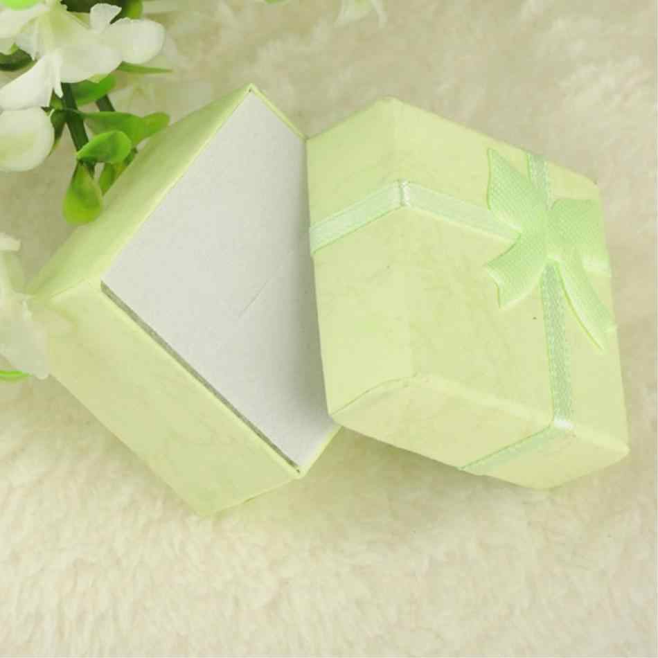 Cheap 2019 New 10 colors 4*4*3cmJewelry Ring Earring Watch Necklace Small Blue Carton Present Gift Box Case