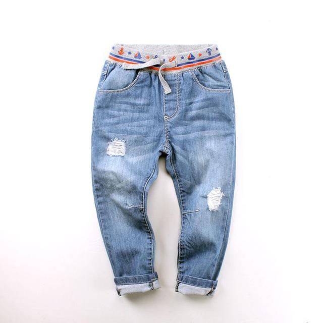 Recién llegado de los bebés moda Denim Jeans niños largos ocasionales alta calidad Ripped Jeans niños del otoño del resorte