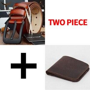 Image 3 - Cinto e carteira conjunto COWATHER para homens top quality bolsa vaca genuína cinta masculina terno dos homens da moda cinto e carteira definir frete grátis