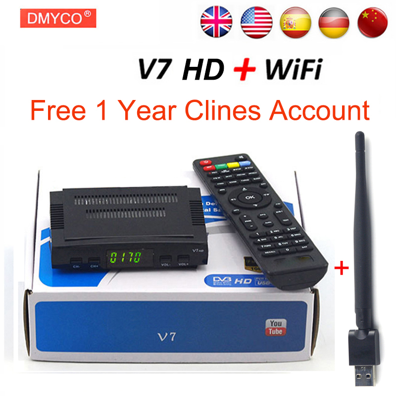 DMYCO Satellite TV Receiver decoder V7 HD DVB-S2 lnb with 7 lines Europe portugal Spain C-line account support powervu Receptor satellite tv receiver freesat v7 atsc s2 combo usb wifi universal ku lnb support iptv powervu biss cccam for north america