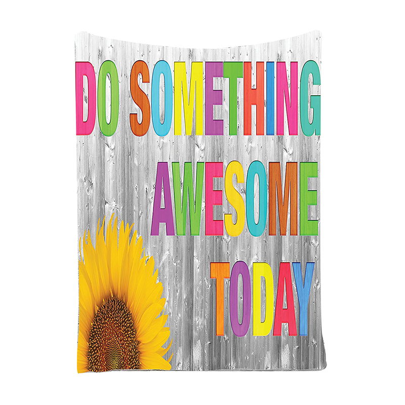 """Quotes Decor Collection, """"Do Something Awesome Today"""" Sunflower on Wooden Wall Wall Hanging Tapestry"""
