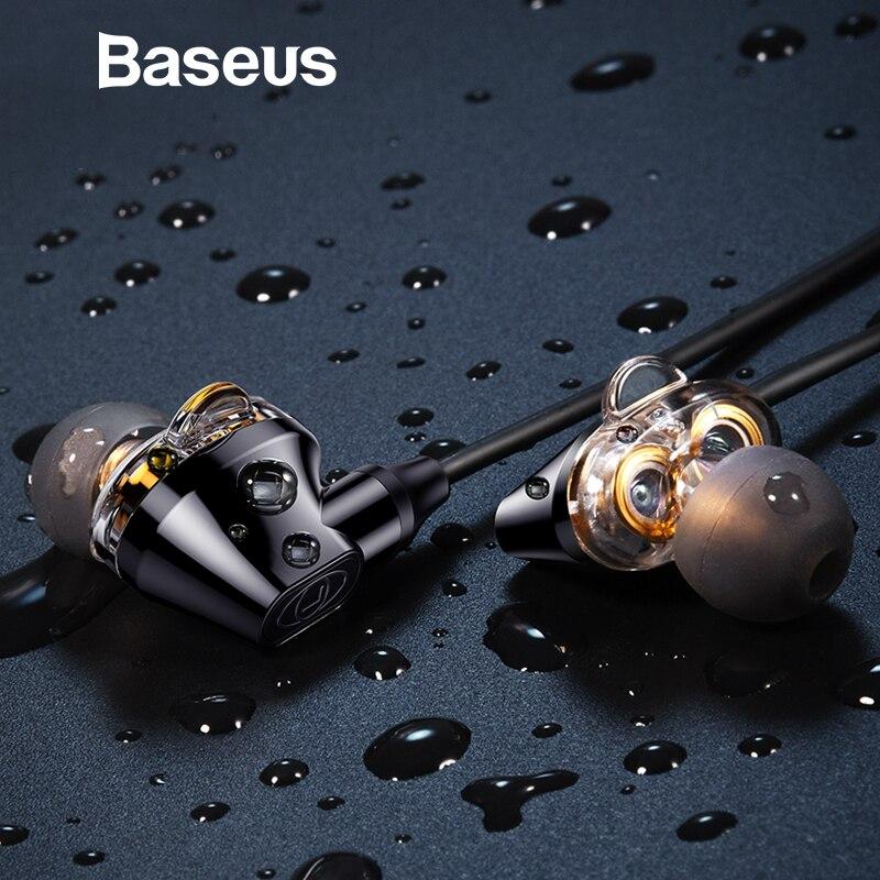 Baseus H10 Dupla dinâmica baixo som fones de ouvido de 3.5MM Com Fio Fone de Ouvido estéreo com microfone para xiaomi fone de ouvido auriculares MP3