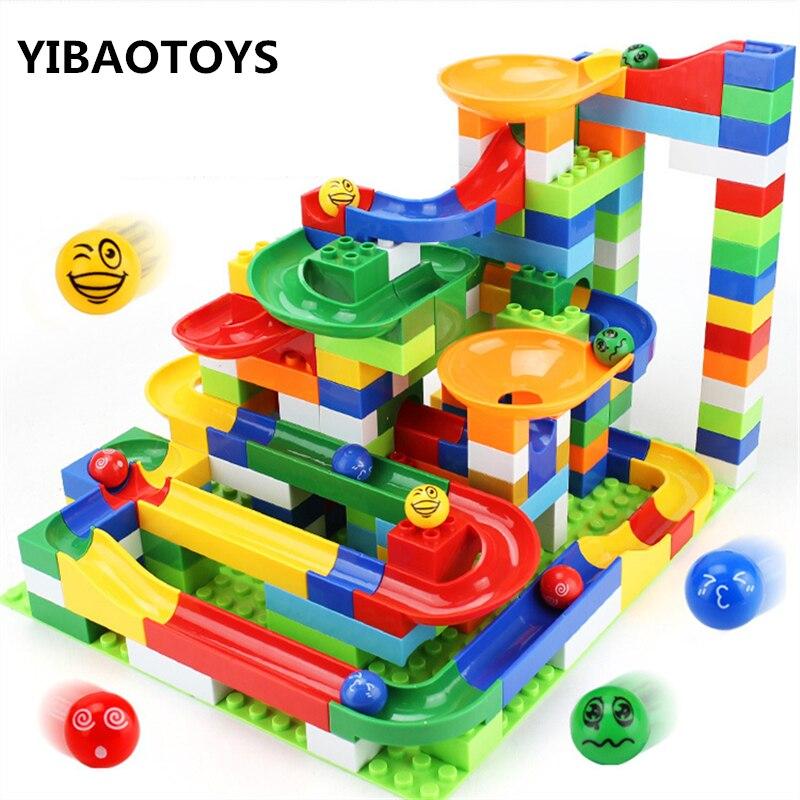 200 pièces/ensemble bricolage assemblage Construction marbre course balles labyrinthe jeu piste blocs de Construction éducation blocs jouets avec boîte