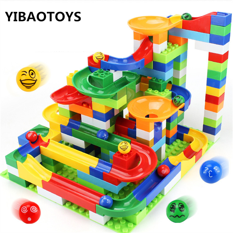 200Pcs/set DIY Assembly Construction Marble Race Run Balls Maze Gaming Track Building Blocks Education blocks toys With box