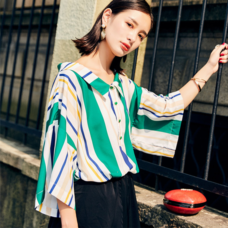 0fa7367a23b6 Cheerart Green Striped Blouse Women Button Up Shirt Casual Loose Long  Korean Summer Tops And Blouses 2017-in Blouses   Shirts from Women s  Clothing on ...