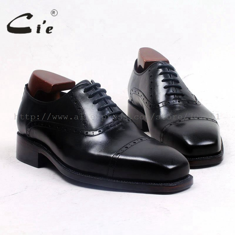cie Free Shipping Bespoke Goodyear Welted Handmade Genuine Leather Men's Dress Oxford Captoe Lacing Color Black shoeNo.OX499 стоимость