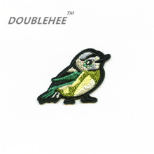 DOUBLEHEE 5cm*3.3cm Embroidered Iron On Patches For Clothing Beauty Small Birds Design diy Hairband Phone Bag Accessories