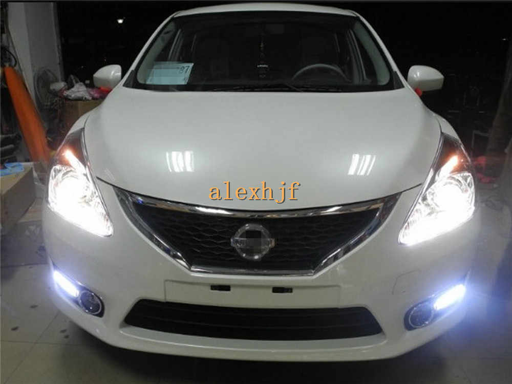 July King LED Daytime Running Lights DRL With Fog Lamp Cover, LED Front Bumper Fog Lamp Case for Nissan Pulsar new TIIDA 1:1