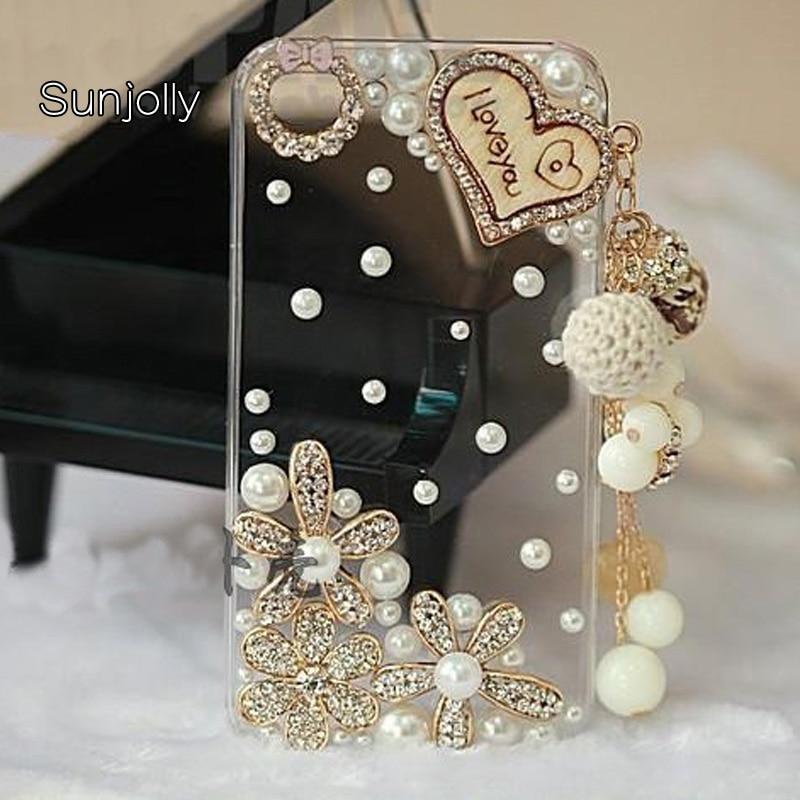 Sunjolly Luxury Rhinestone Case Diamond Cover Crystal Bling Phone - Reservdelar och tillbehör för mobiltelefoner